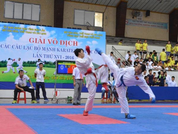 679 VĐV tham dự Giải vô địch các câu lạc bộ mạnh Karatedo quốc gia lần thứ XVI năm 2016.