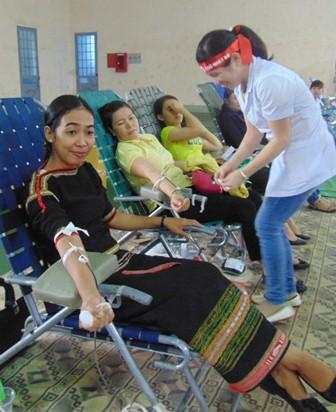 Cán bộ nhân dân các dân tộc nô nức vượt mưa đi hiến máu
