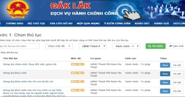 Công bố Hệ thống Dịch vụ hành chính công trực tuyến tích hợp Một Cửa điện tử liên thông của tỉnh Đắk Lắk