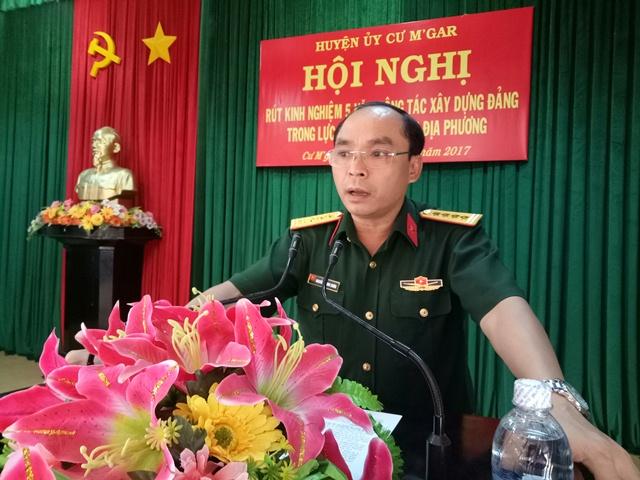 Huyện ủy Cư M'gar tổ chức Hội nghị rút kinh nghiệm 05 năm công tác xây dựng Đảng trong lực lượng vũ trang địa phương