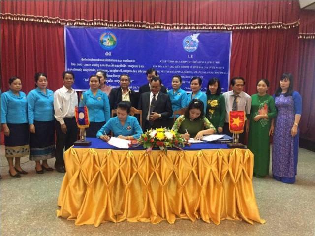 """Hội LHPN tỉnh tổ chức Hội nghị tổng kết """"thỏa thuận hợp tác vì hòa bình và phát triển"""" giai đoạn 2012 – 2017 với Hội LHPN 4 tỉnh Nam Lào"""
