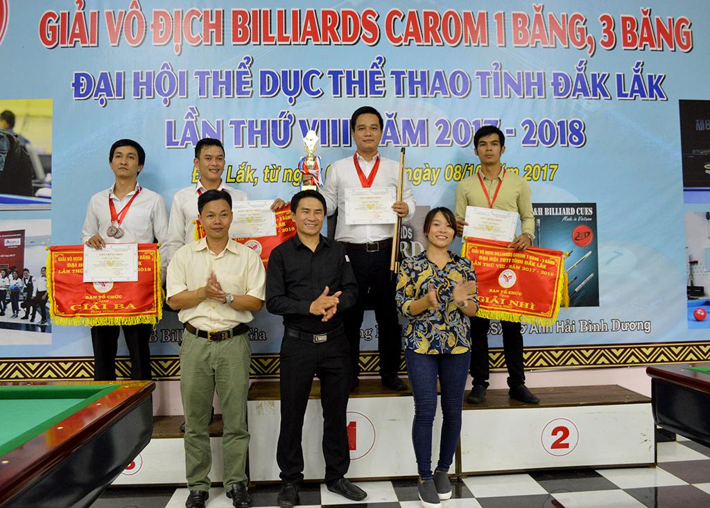 Bế mạc Giải vô địch Billiards Caron 1 băng, 3 băng tỉnh Đắk Lắk trong chương trình Đại hội Thể dục Thể thao tỉnh Đắk Lắk lần thứ 8