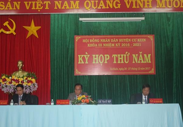 HĐND huyện Cư Kuin tổ chức Kỳ họp thứ 5, Khóa III nhiệm kỳ 2016-2021