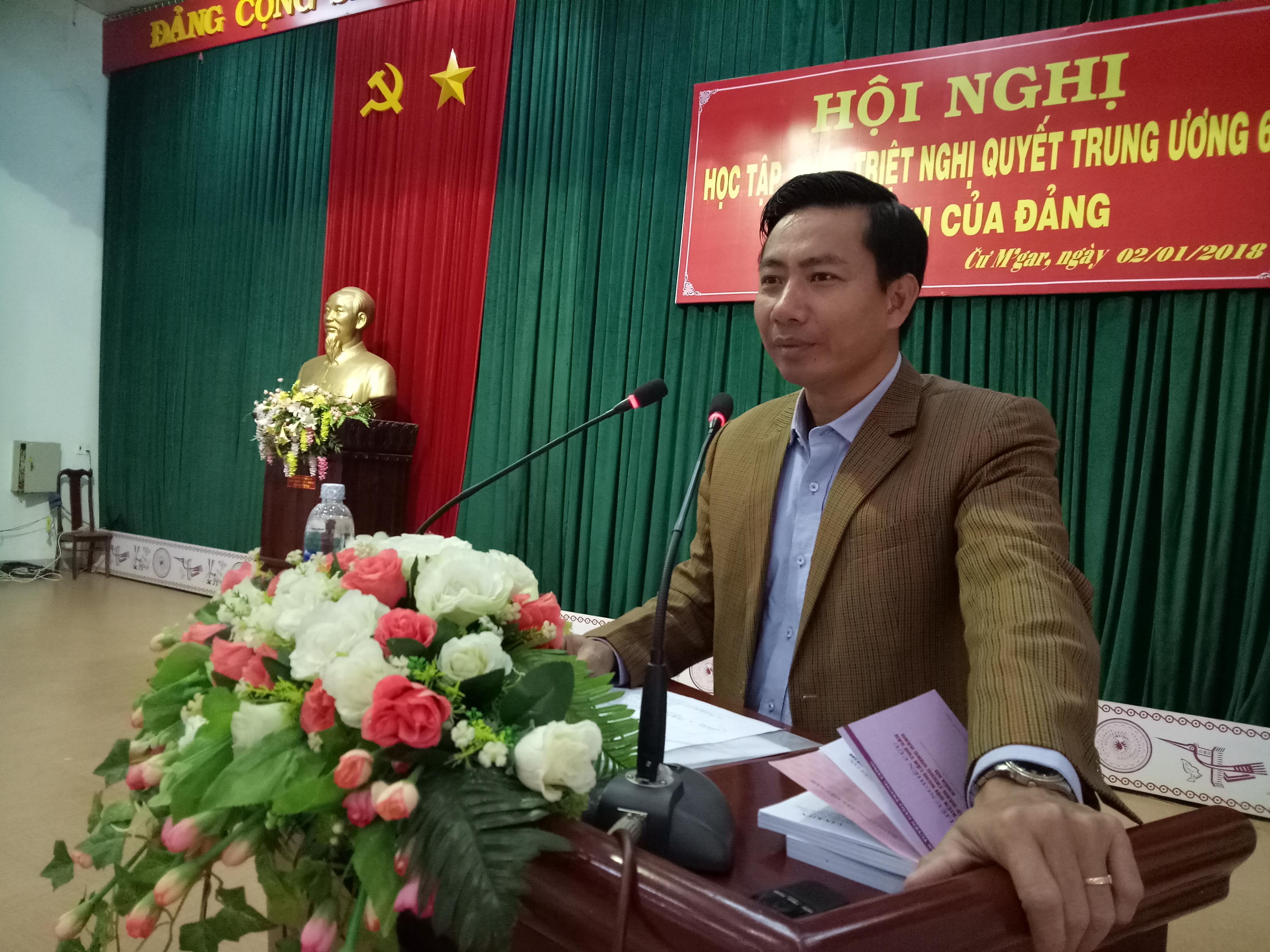 Huyện Cư M'gar tổ chức Hội nghị học tập, quán triệt Nghị quyết TW 6, khóa XII của Đảng
