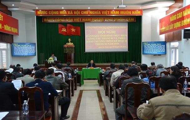 UBND thành phố Buôn Ma Thuột: Hội nghị đánh giá tình hình thực hiện công tác tháng 1 và triển khai chương trình kế hoạch tháng 2 năm 2018